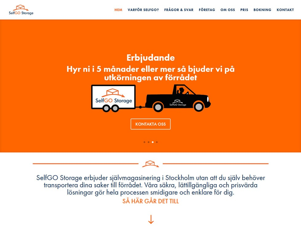 AS webstudio har byggt SelfGO Storage´s hemsida