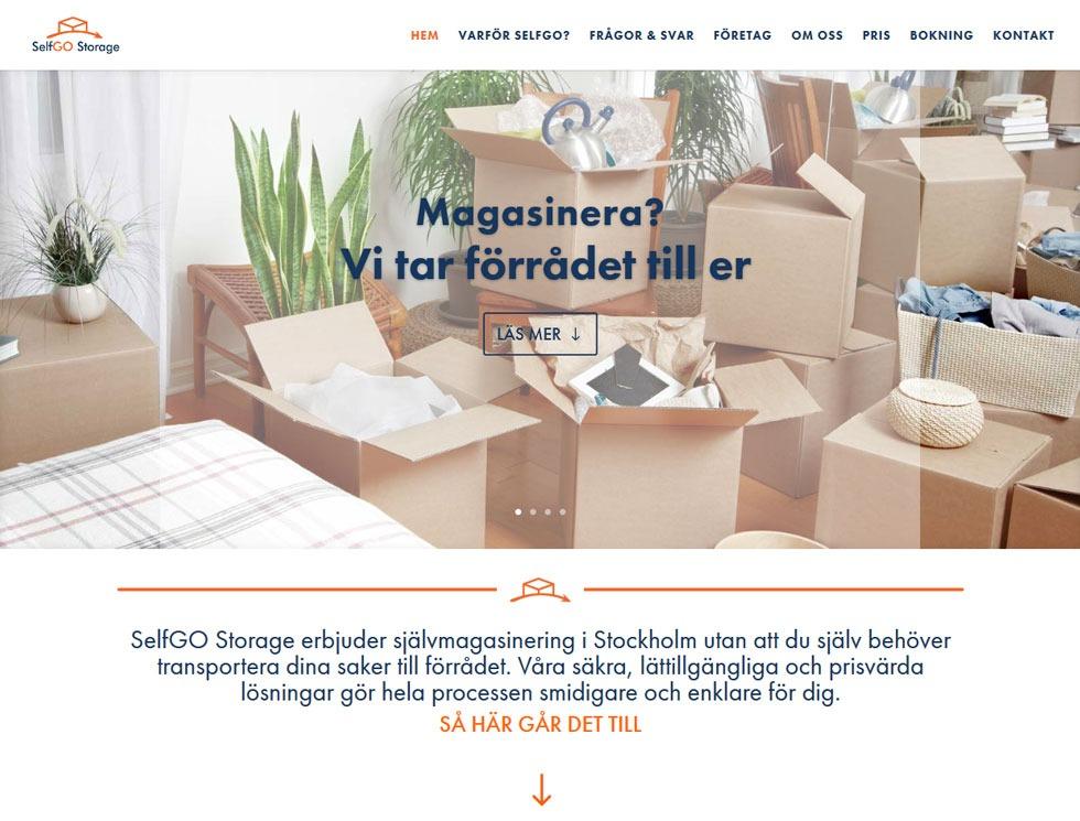 Hemsida byggd av AS webstudio till SelfGO Storage i Stockholm