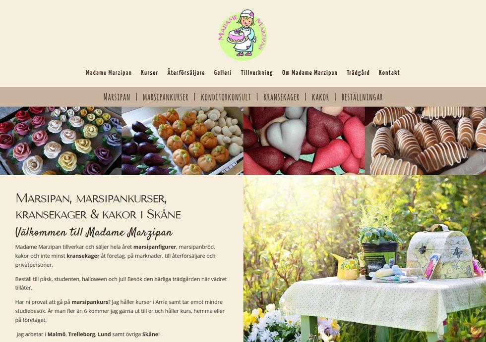 Byggt ny GOD hemsida till Madame Marzipan i Skåne!