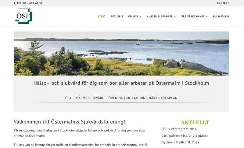 AS webstudio i Malmö har byggt ny hemsida till Östermalms Sjukvårdsförening