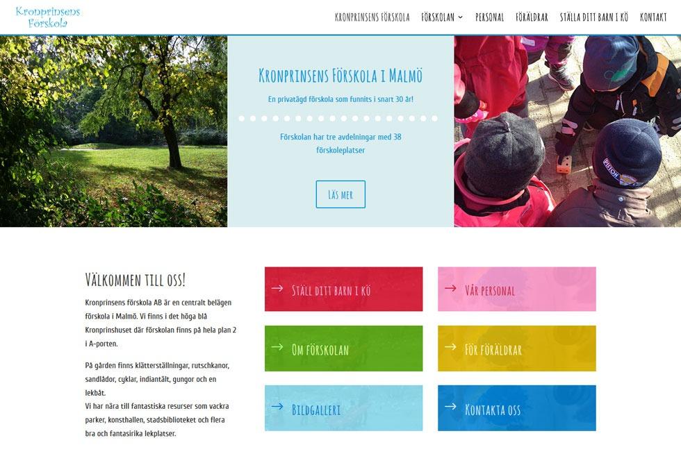 AS webstudio har byggt en ny hemsida till Kronprinsens Förskola i Malmö