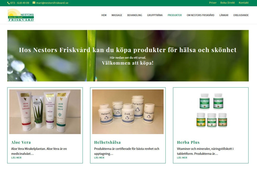 AS webstudio har byggt ny hemsida till Nestors Friskvård i Kalmar