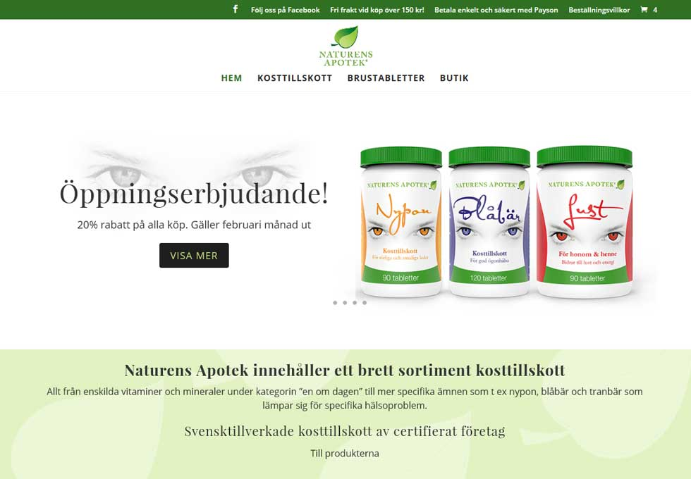 AS webstudio har byggt en ny webbshop i Woocommerce till Naturens Apotek