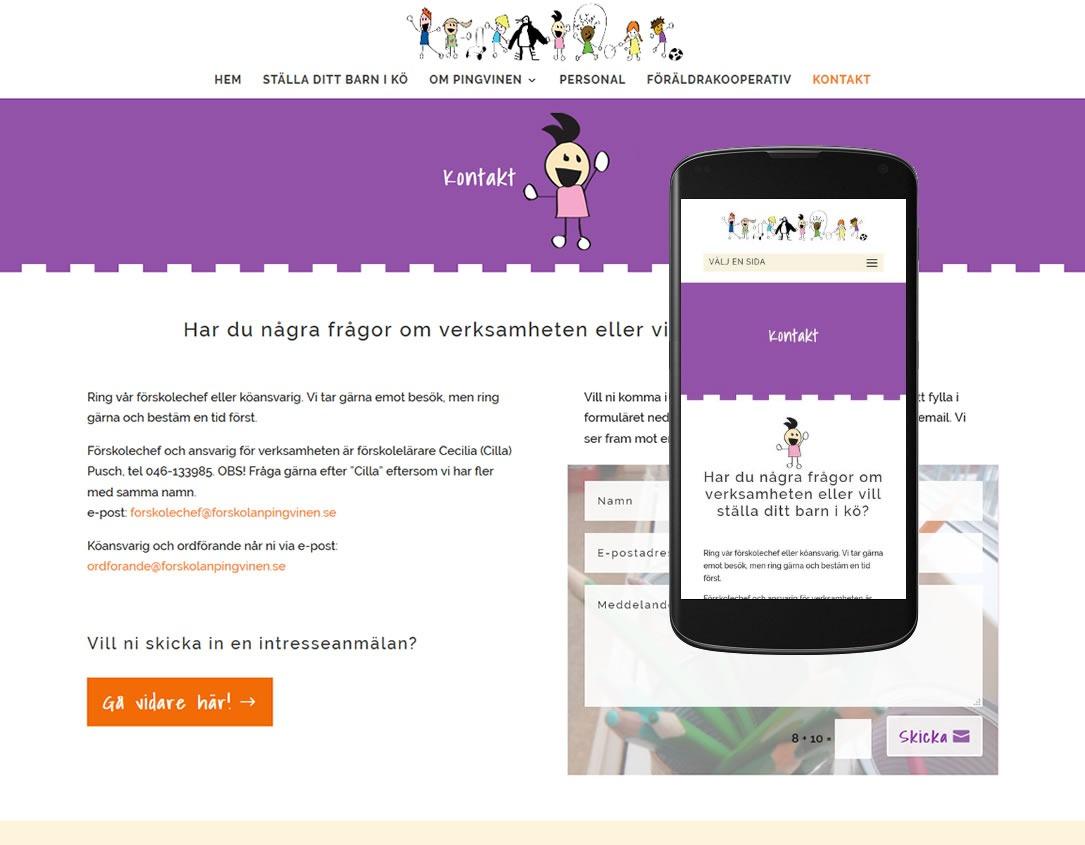 Förskolan Pingvinen har nu en ny hemsida
