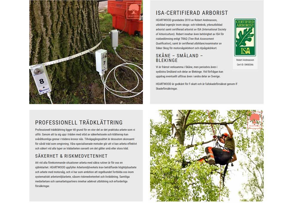AS webstudio har byggt en ny hemsida till Heartwood i Skåne