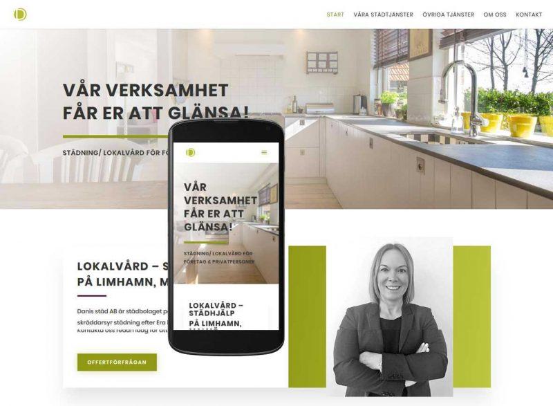 Mobilanpassad hemsida till städföretag på Limhamn