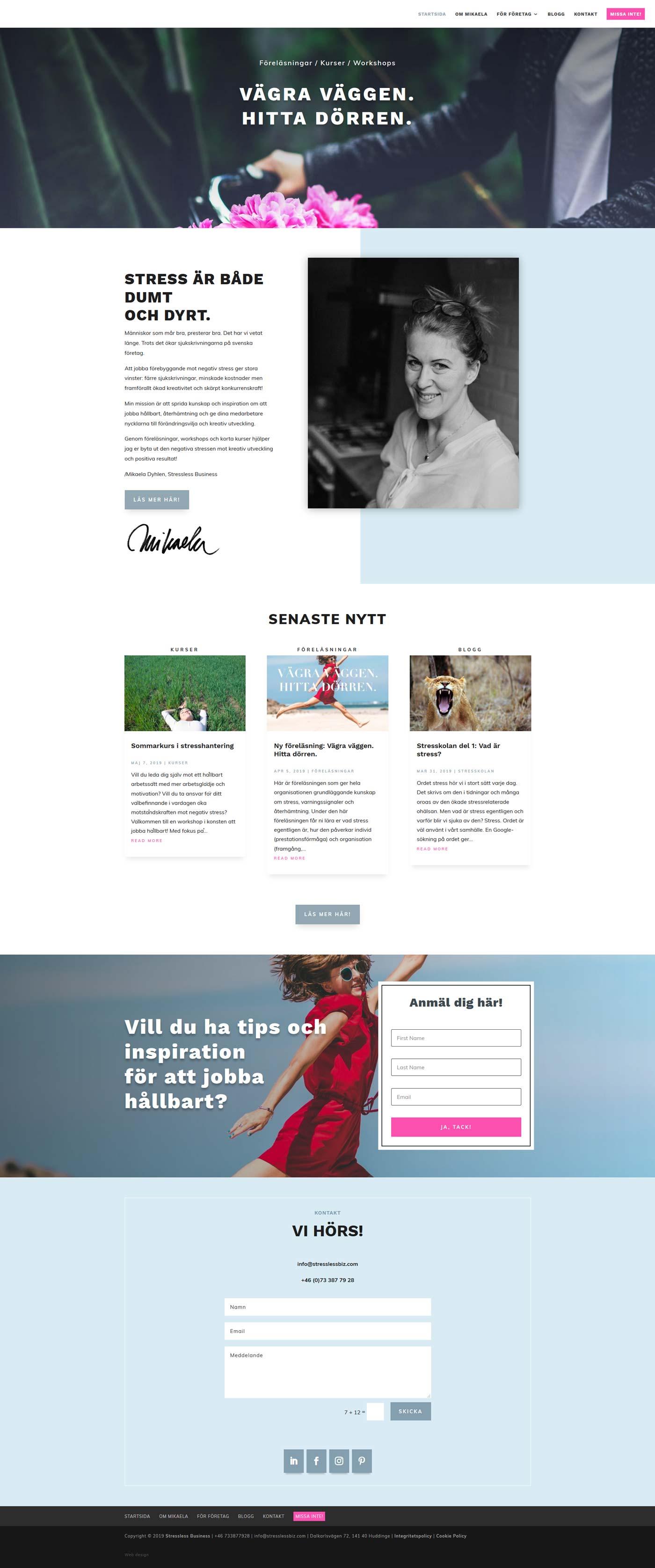 Ny hemsida i WordPress som kan byggas på med nya sidor enkelt!