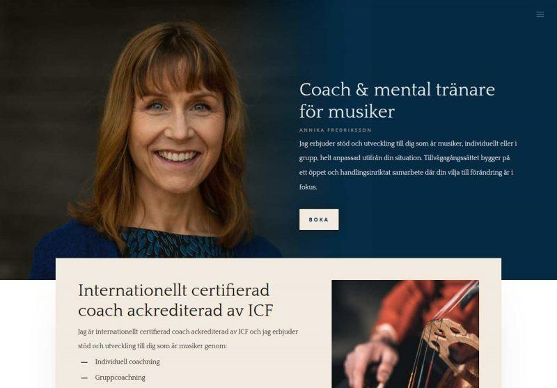 AS webstudio har byggt en ny hemsida till en coach
