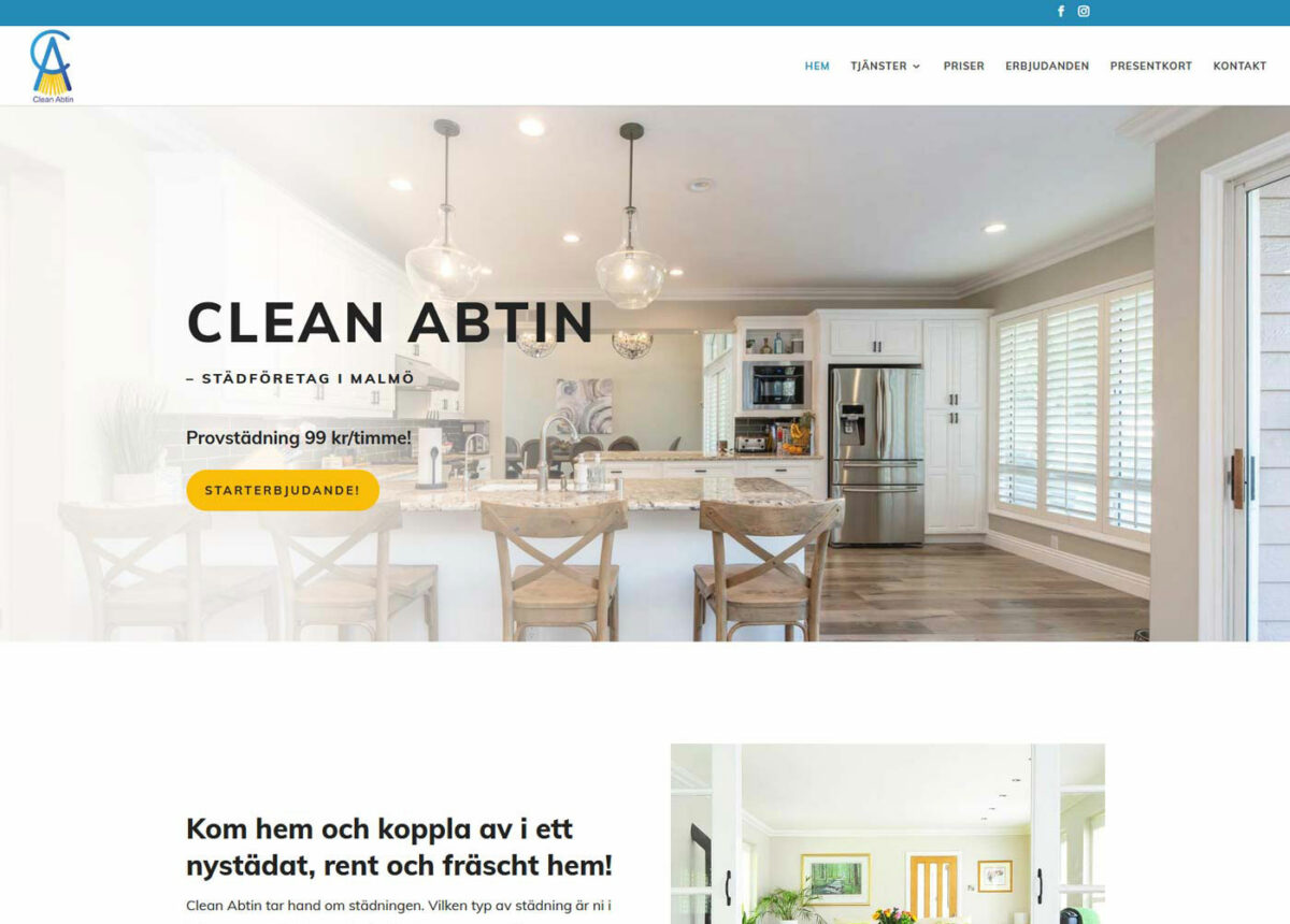 """En """"clean"""" hemsida till ett städföretag"""