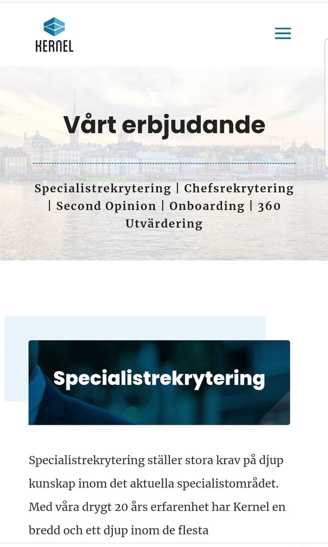 Ny hemsida byggd till företag i Stockholm - mobilversion