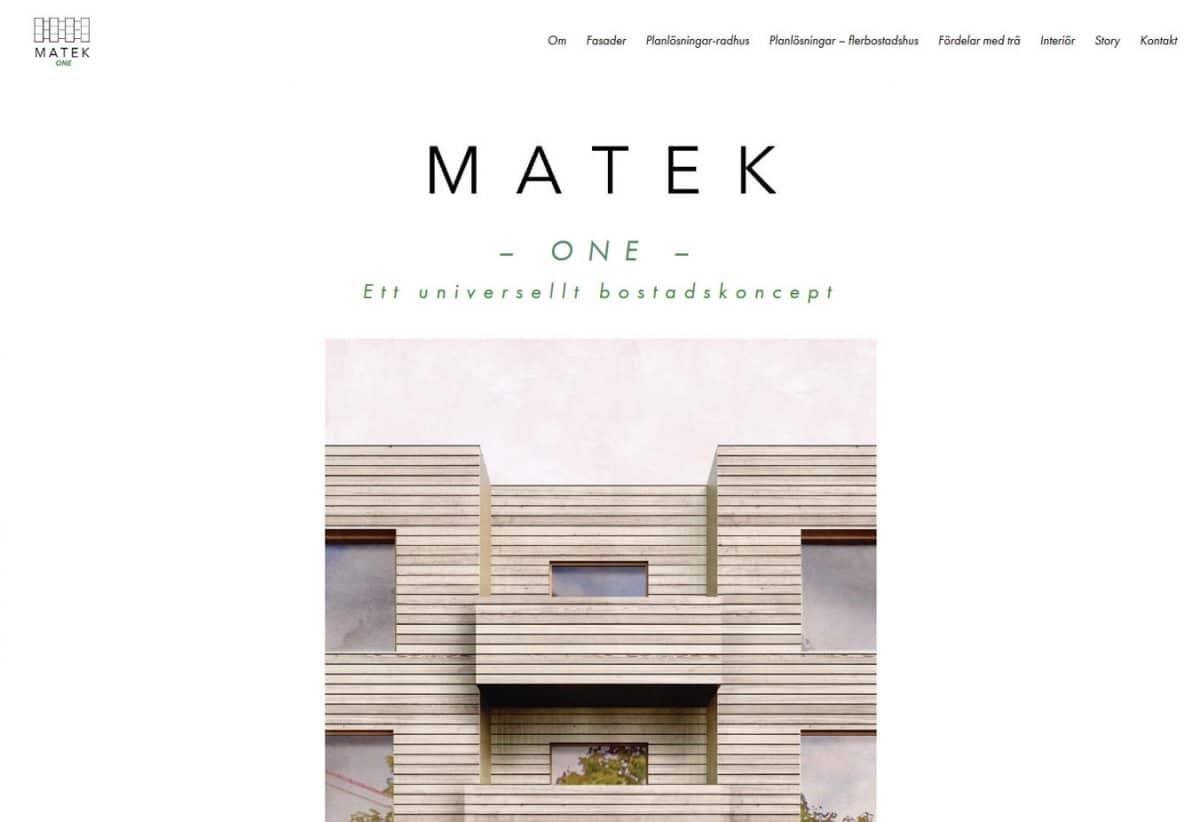 One page hemsida för bostadsprojekt