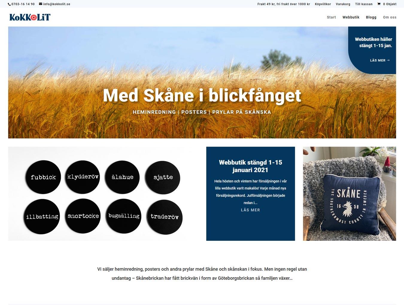 AS webstudio har designat om en befintlig webbutik